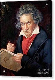 Ludwig Van Beethoven Composing His Missa Solemnis Acrylic Print by Joseph Carl Stieler