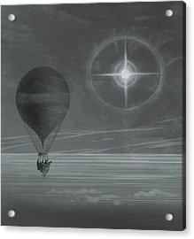 Lunar Halo And Luminescent Cross Observed During The Balloon Zenith's Long Distance Flight Acrylic Print by French School