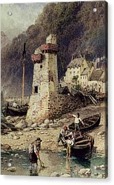 Lynmouth In Devonshire Acrylic Print by Myles Birket Foster