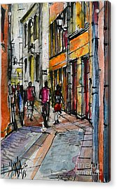Lyon Cityscape - Street Scene #02 - Rue De Gadagne Acrylic Print by Mona Edulesco