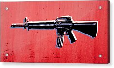 M16 Assault Rifle On Red Acrylic Print by Michael Tompsett