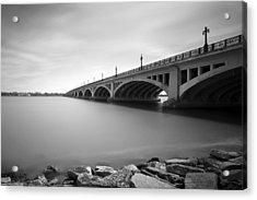 Macarthur Bridge To Belle Isle Detroit Michigan Acrylic Print by Gordon Dean II
