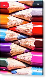 Macro Coloured Pencil Crossover Acrylic Print by Jorgo Photography - Wall Art Gallery