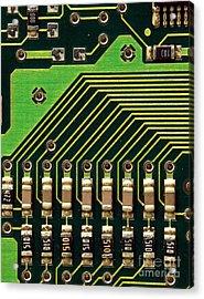 Macro Image Of A Computer Motherboard Acrylic Print by Yali Shi