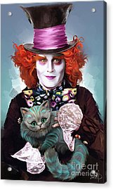 Mad Hatter And Cheshire Cat Acrylic Print by Melanie D