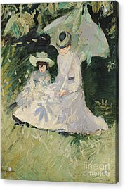 Madame Helleu And Her Daughter At The Chateau Of Boudran Acrylic Print by Paul Cesar Helleu