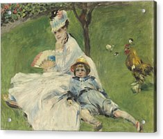 Madame Monet And Her Son Acrylic Print by Pierre Auguste Renoir