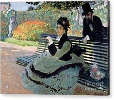 Madame Monet On A Garden Bench Acrylic Print by Claude Monet