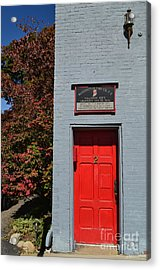 Madison Red Fire House Door Acrylic Print by Amy Lucid