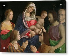 Madonna And Child With Saint John The Baptist Two Saints And Donors Acrylic Print by Vincenzo di Biagio Catena