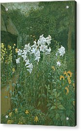 Madonna Lilies In A Garden Acrylic Print by Walter Crane