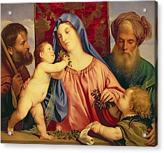 Madonna Of The Cherries With Joseph Acrylic Print by Titian