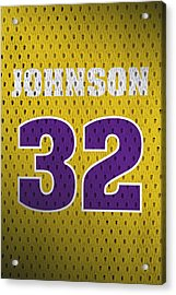 Magic Johnson Los Angeles Lakers Number 32 Retro Vintage Jersey Closeup Graphic Design Acrylic Print by Design Turnpike