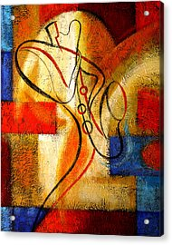 Magic Saxophone Acrylic Print by Leon Zernitsky