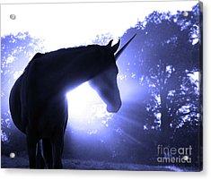 Magic Unicorn In Blue Acrylic Print by Sari ONeal