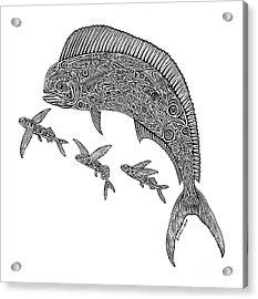 Mahi With Flying Fish Acrylic Print by Carol Lynne