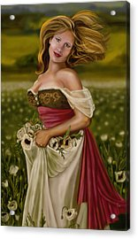 Maiden Amongst The Poppies Acrylic Print by Maggie Terlecki