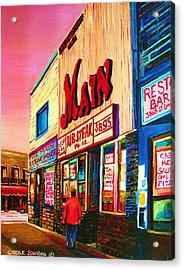 Main Steakhouse Blvd.st.laurent Acrylic Print by Carole Spandau