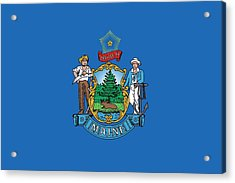 Maine State Flag Acrylic Print by American School