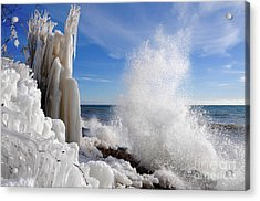 Making More Ice Acrylic Print by Sandra Updyke