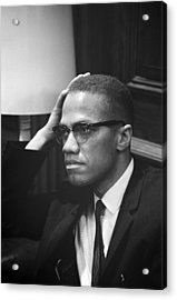 Malcolm X, Malcolm X Waits At Martin Acrylic Print by Everett