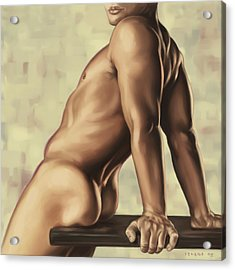 Male Nude 2 Acrylic Print by Simon Sturge