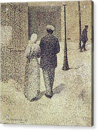Man And Woman In The Street Acrylic Print by Charles Angrand