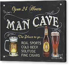 Man Cave Chalkboard Sign Acrylic Print by Debbie DeWitt