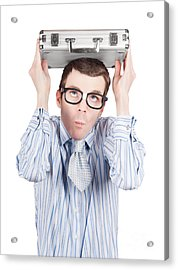 Man In Fear Holding Suitcase. Business Danger Acrylic Print by Jorgo Photography - Wall Art Gallery
