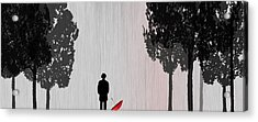 Man In Rain Acrylic Print by Jim Kuhlmann