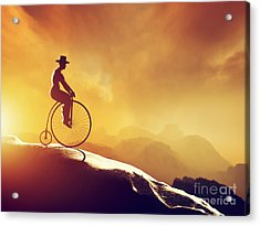 Man On Retro Bicycle Riding Downhill Acrylic Print by Michal Bednarek