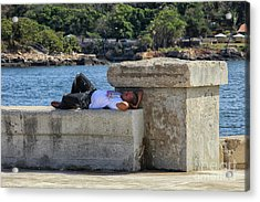 Man Sleeping On A Wall  Acrylic Print by Patricia Hofmeester
