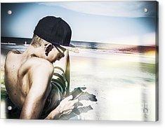 Man Using Mobile Smart Phone Technology Acrylic Print by Jorgo Photography - Wall Art Gallery