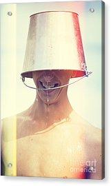 Man Wearing Water Bucket On Head In Summer Heat Acrylic Print by Jorgo Photography - Wall Art Gallery