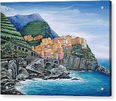 Manarola Cinque Terre Italy Acrylic Print by Marilyn Dunlap