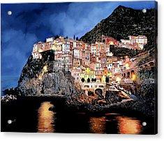 Manarola Di Notte Acrylic Print by Guido Borelli