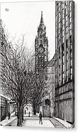 Manchester Town Hall From Deansgate Acrylic Print by Vincent Alexander Booth