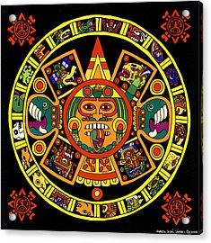 Mandala Azteca Acrylic Print by Roberto Valdes Sanchez