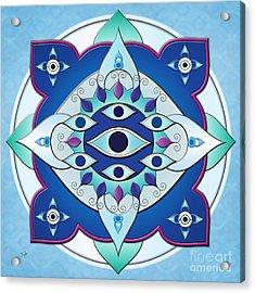 Mandala Of The Seven Eyes Acrylic Print by Bedros Awak