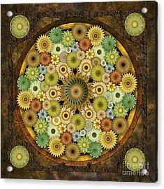 Mandala Stone Flowers Acrylic Print by Bedros Awak