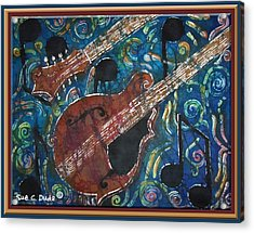Mandolin - Bordered Acrylic Print by Sue Duda