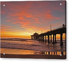 Manhattan Beach Sunset Acrylic Print by Matt MacMillan