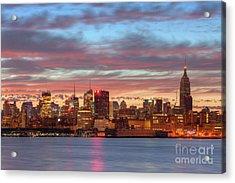 Manhattan Dawn Skyline I Acrylic Print by Clarence Holmes