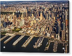 Manhattan New York City Aerial View Acrylic Print by Susan Candelario