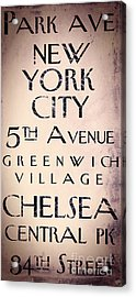 Manhattan Street Sign Acrylic Print by Mindy Sommers