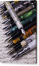 Many Fountain Pens Acrylic Print by Garry Gay
