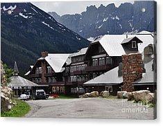 Many Glacier Lodge Acrylic Print by Diana Nigon
