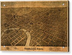 Map Of Columbus Ohio Vintage Street Schematic Birds Eye View On Worn Parchment Acrylic Print by Design Turnpike