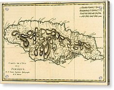 Map Of Jamaica Acrylic Print by Guillaume Raynal