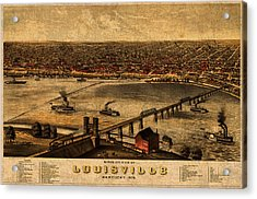 Map Of Louisville Kentucky Vintage Birds Eye View Aerial Schematic On Old Distressed Canvas Acrylic Print by Design Turnpike